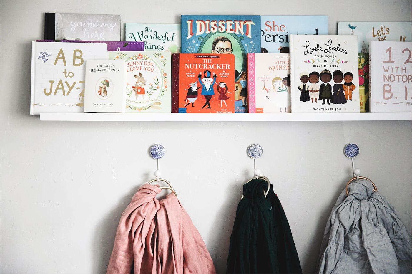 Bookshelf with children's books.