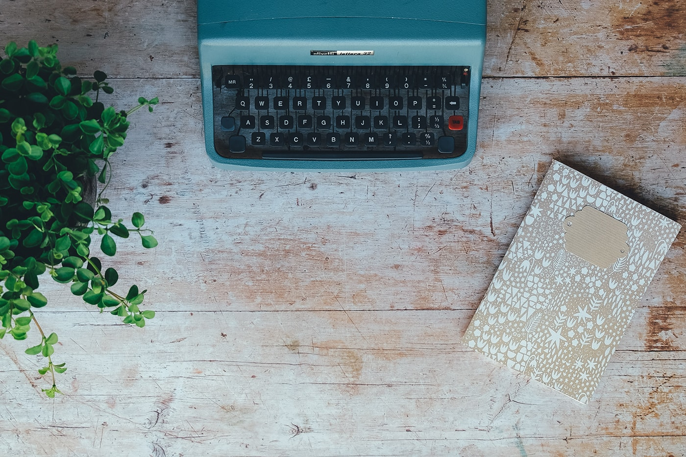 Overview shot of a typewriter, notebook, and plant on a rustic looking desktop